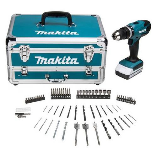 Makita HP457DWX4 18v G Series Combi Drill with 1 x 1.3Ah Battery, Charger and Case with Accessory Kit