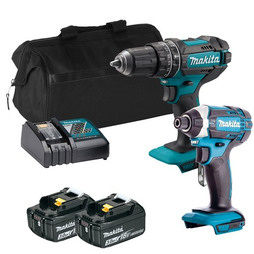 Makita 18V LXT 2 Piece Kit with 2x 3.0Ah Batteries, Charger & Bag