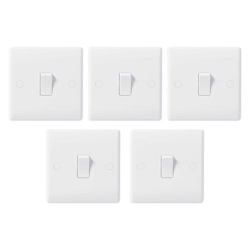 BG 10AX Plate Switch 1 Gang 2 Way - Pack of 5