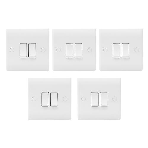 BG 842PK5 10AX Plate Switch 2 Gang 2 Way - Pack of 5