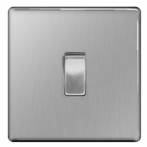 BG FBS12-01 Brushed Steel 10A 1 Gang 2 Way Plate Switch