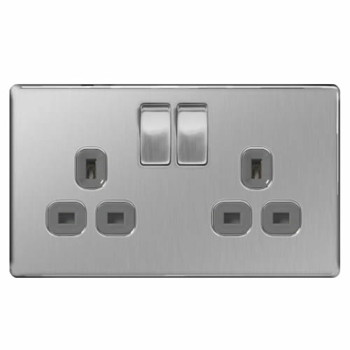 BG FBS22G-01 Brushed Steel 13A 2 Gang Double Pole Switched Socket - Grey