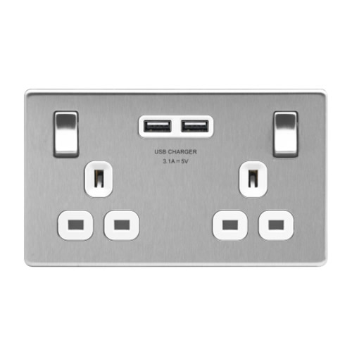 BG FBS22U3W-01 BR Steel 13A 2 Gang Switched Socket + USB - White