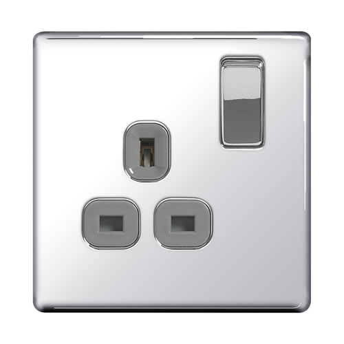BG FPC21G-01 Chrome 13A 1 Gang Double Pole Switched Socket - Grey