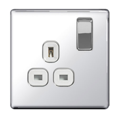 BG FPC21W-01 Chrome 13A 1 Gang Double Pole Switched Socket - White