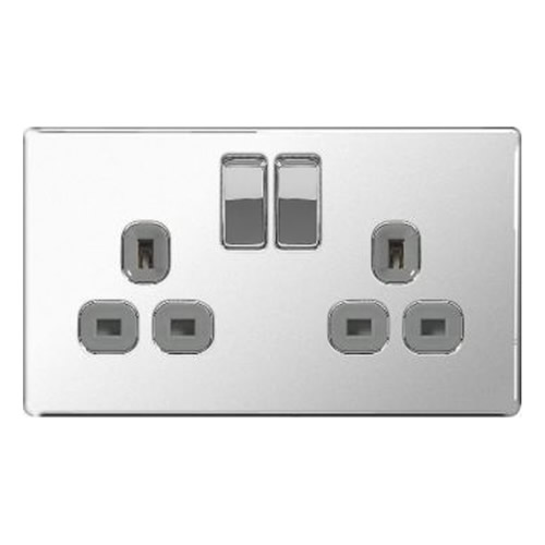 BG FPC22G-01 Chrome 13A 2 Gang Double Pole Switched Socket - Grey