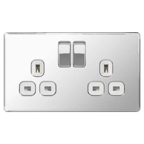 BG FPC22W-01 Chrome 13A 2 Gang Double Pole Switched Socket - White