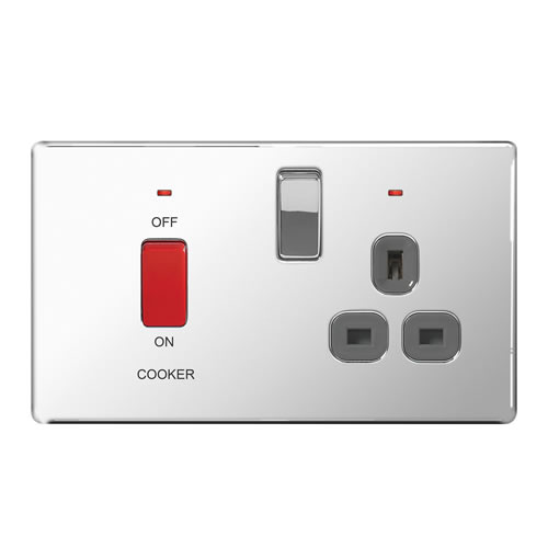 BG Chrome 45A Cooker Connection Unit Switched Socket - Grey