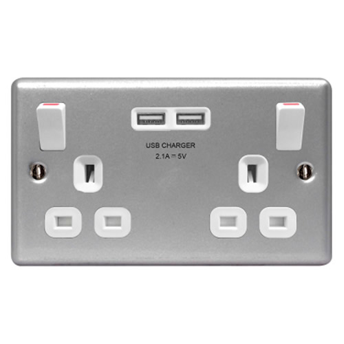 BG MC522U Metal Clad 2 Gang Switched Socket with 2 USB Ports