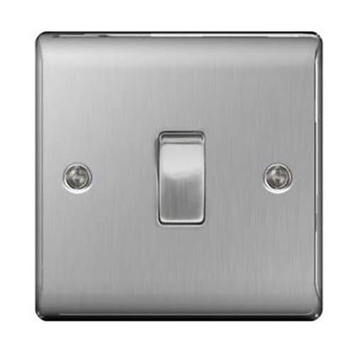 BG NBS12-01 Brushed Steel 10AX 1 Gang 2 Way Plate Switch