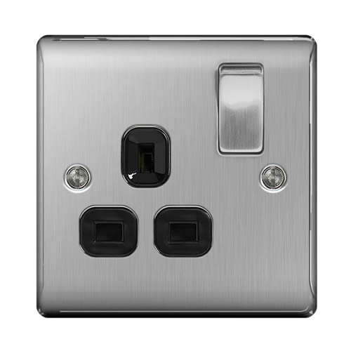 BG NBS21B-01 Brushed Steel 13A 1 Gang Double Pole Switched Socket - Black