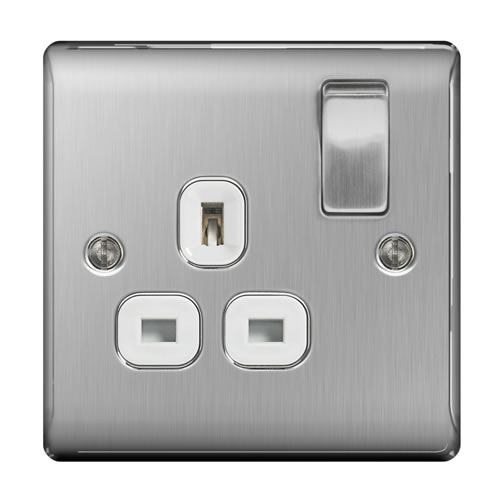 BG NBS21W-01 Brushed Steel 13A 1 Gang Double Pole Switched Socket - White