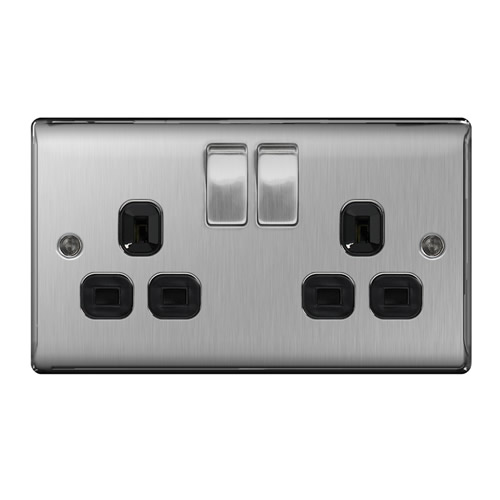 BG NBS22B-01 Brushed Steel 13A 2 Gang Double Pole Switched Socket - Black