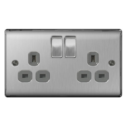 BG NBS22G-01 Brushed Steel 13A 2 Gang Double Pole Switched Socket