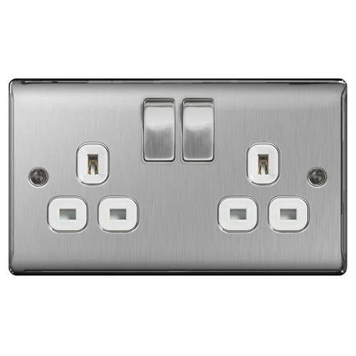 BG NBS22W-01 Brushed Steel 13A 2 Gang Double Pole Switched Socket