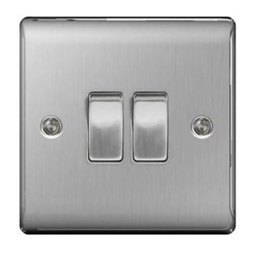 BG NBS42-01 Brushed Steel 10AX 2 Gang 2 Way Plate Switch