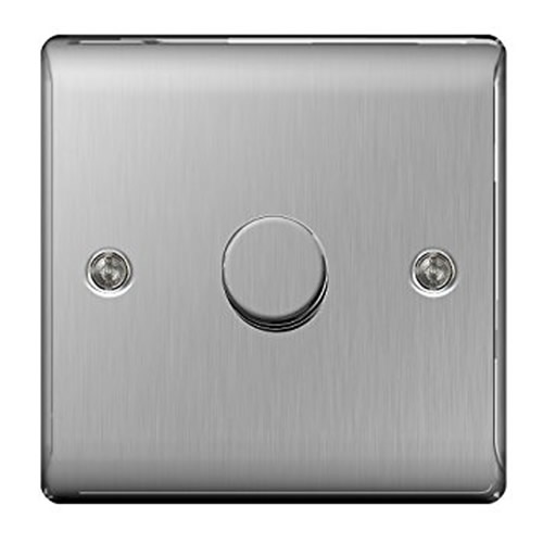 BG NBS81P-01 Brushed Steel 400W 1 Gang 2 Way Dimmer
