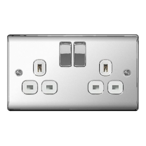 BG NPC22W-01 Chrome 13A 2 Gang Double Pole Switched Socket - White
