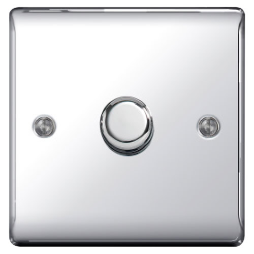 BG NPC81P-01 Chrome 400W 1 Gang 2 Way Push Dimmer