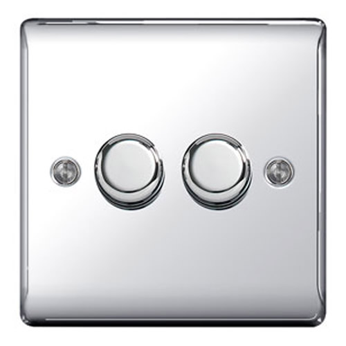BG NPC82P-01 Chrome 400W 2 Gang 2 Way Push Dimmer