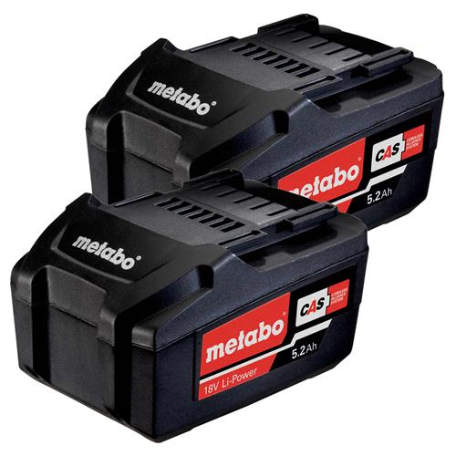 Metabo 625587000PK2 Metabo 18v 5.2Ah Li-ion Battery Twinpack