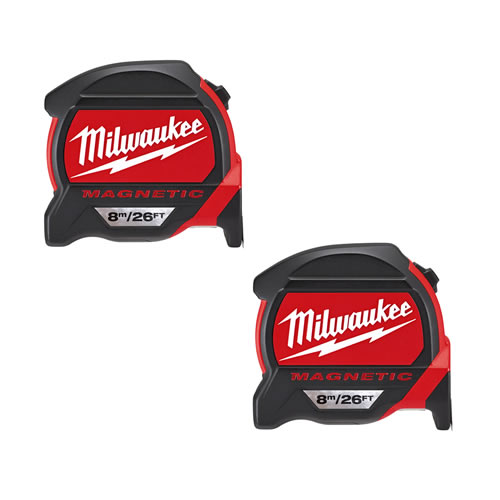 Milwaukee 48227225PK2 Milwaukee GEN2 8m/26ft Magnetic Tape Measure Twinpack