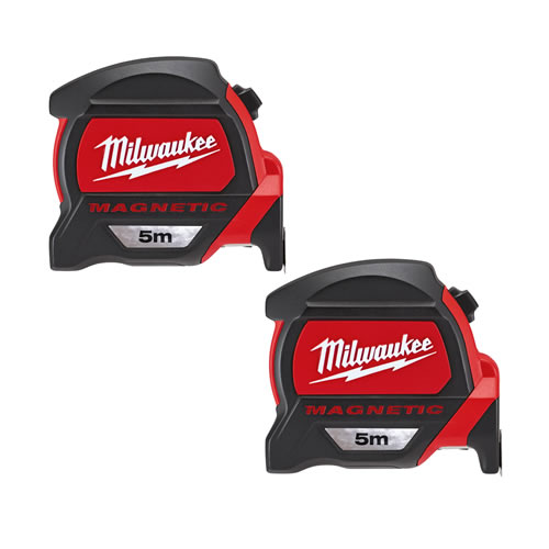Milwaukee 48227305PK2 Milwaukee GEN2 5m Magnetic Tape Measure (Metric Only) Twinpack