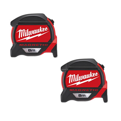Milwaukee 48227308PK2 Milwaukee GEN2 8m Magnetic Tape Measure (Metric Only) Twinpack