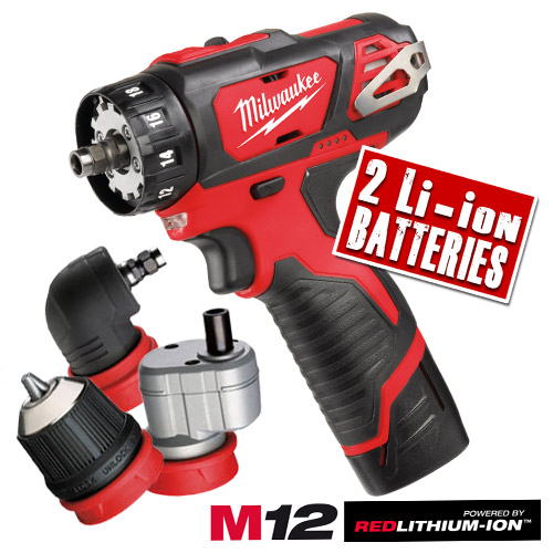 Milwaukee M12 BDDXKIT 202C Milwaukee 12v Li-ion 4 in 1 Drill Driver Kit