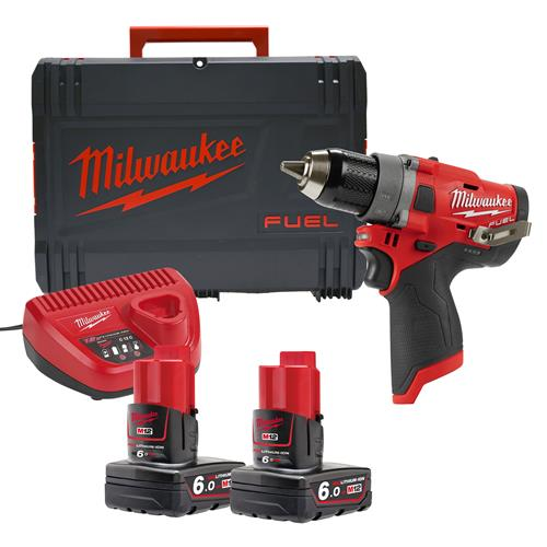 Milwaukee M12FDD-602X 12v M12 FUEL Drill Driver with 2 x 6Ah Batteries, Charger and Case