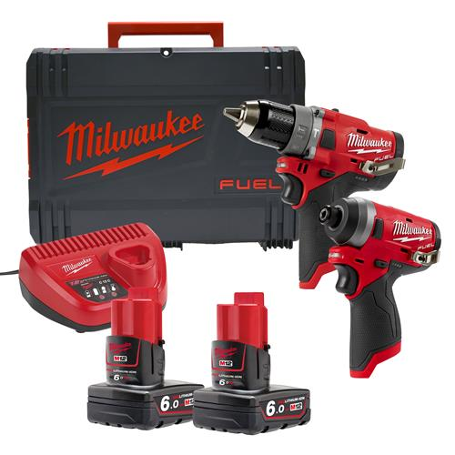 Milwaukee M12 FPP2A-602X 12v M12 FUEL 2 Piece Kit with x 6Ah Batteries, Charger and Case