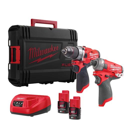 Milwaukee M12 FPP2AQ-202X 12V FUEL 2 Piece Kit with x 2Ah Batteries, Charger and Case