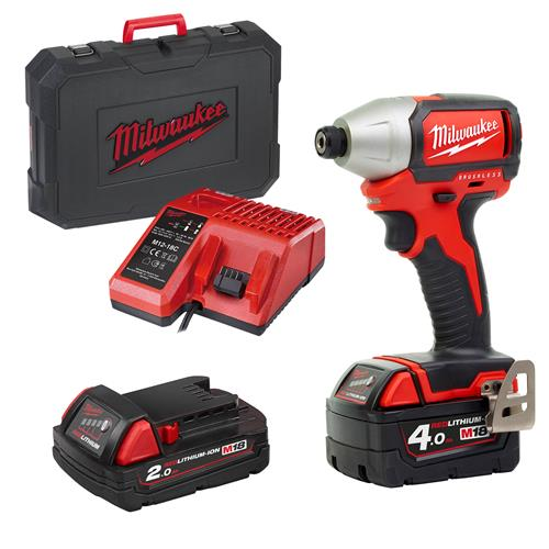 Milwaukee M18BLID4121C 18v M18 Brushless Impact Driver with 1 x 4Ah and 1 x 2Ah Batteries, Charger and Case