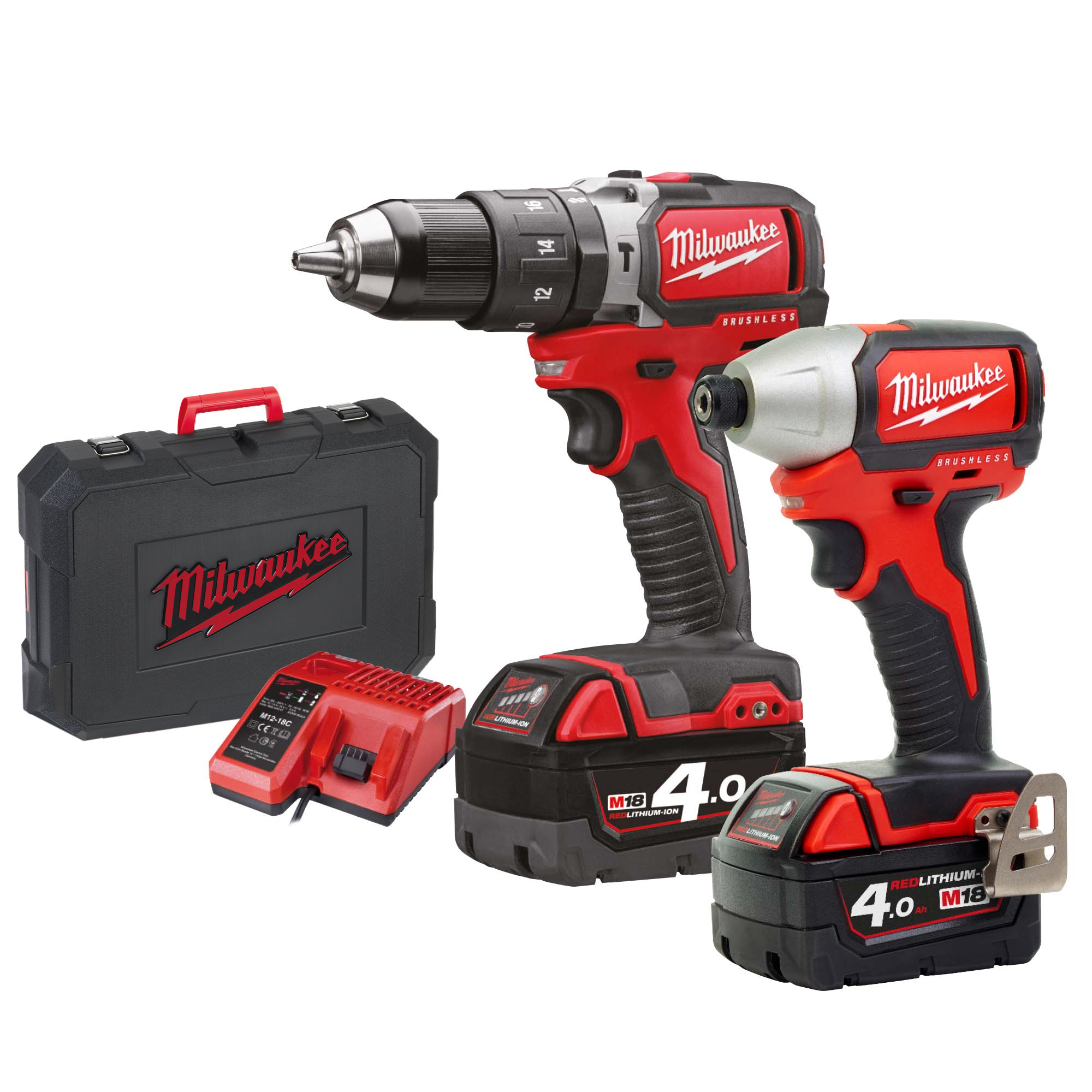 Milwaukee M18BLPP2A402C 18v M18 Brushless 2 Piece Kit with 2 x 4Ah Batteries, Charger and Case