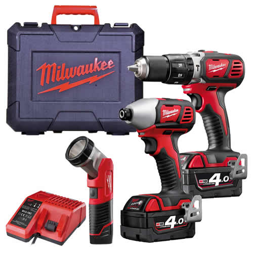 Milwaukee M18 BPP2H-413C Milwaukee 18v / 12v RED Li-ion 3 Piece Kit
