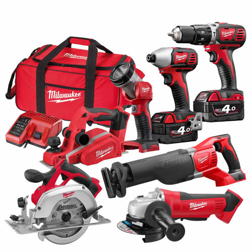 Milwaukee M18BPP7A402B Milwaukee 18v RED Li-ion Cordless 7 Piece Kit