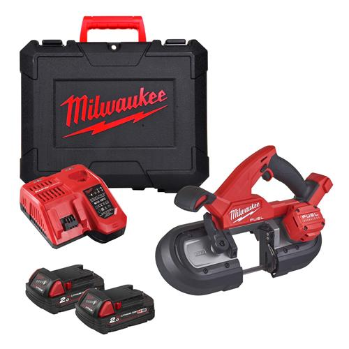 Milwaukee M18 FBS85-202C 18V M18 FUEL Compact 85mm Band Saw, 2 x 2.0Ah, Charger & Case