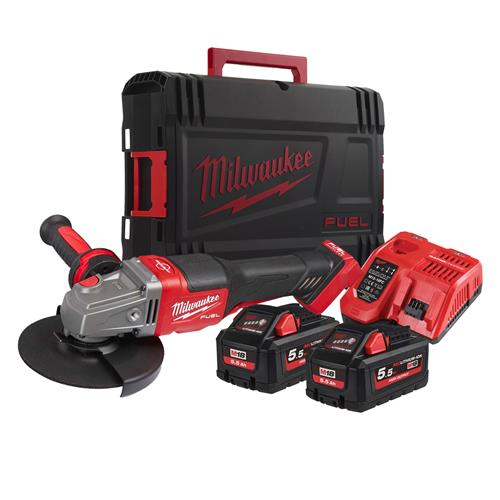 Milwaukee M18 FHSAG125XPDB-552X 125mm Angle Grinder with 2 x 5.5AH Batteries, Charger and Case