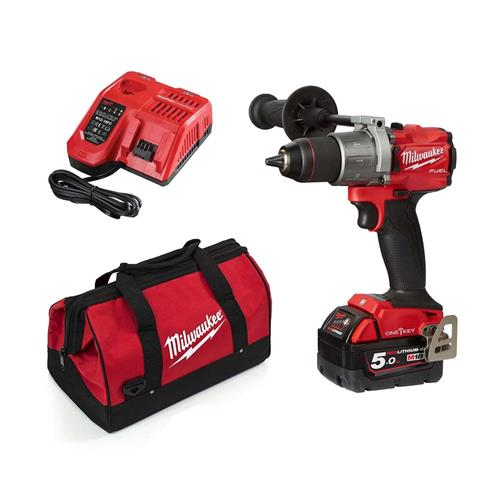 Milwaukee M18 FPD2 18V FUEL Brushless Combi Drill with 1 x 5.0Ah Battery, Charger and Bag