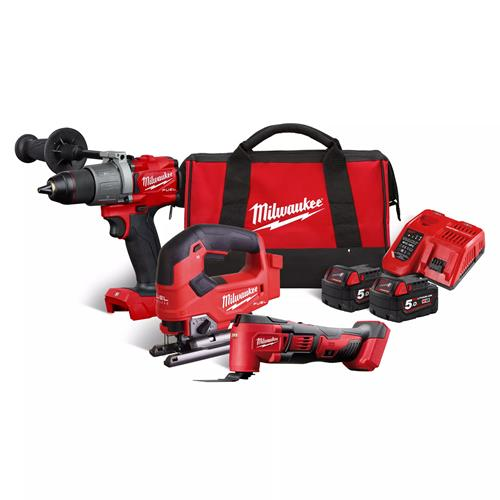 Milwaukee M18 Triple Pack with 2 x 5Ah Batteries, Charger and Bag