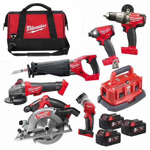Milwaukee M18FPP6B503B Milwaukee 18v FUEL RED Li-ion Cordless 6 Piece Kit