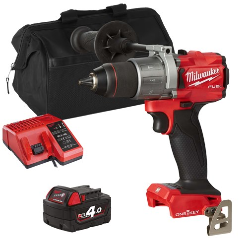 Milwaukee ONEPD2XITS 18v M18 ONE-KEY Combi Drill with 1 x 4Ah Battery, Charger and Bag
