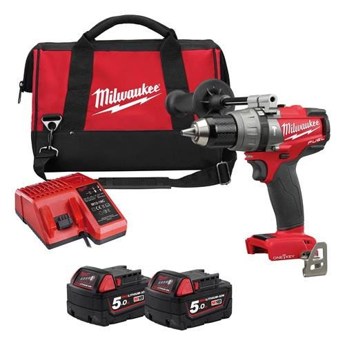 Milwaukee MILM18ONEPD502XB One Key FUEL Combi Drill (2 x 5Ah)