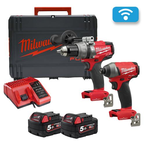 Milwaukee M18ONEPP2A2-502X 18v M18 ONE-KEY 2 Piece Kit with 2 x 5Ah Batteries, Charger and Case