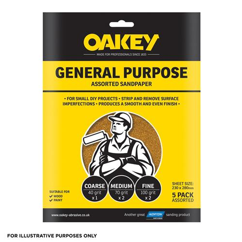 Oakey Glasspaper Sand Paper Sheets 230 X 280mm Assorted Grit - Pack Of 10
