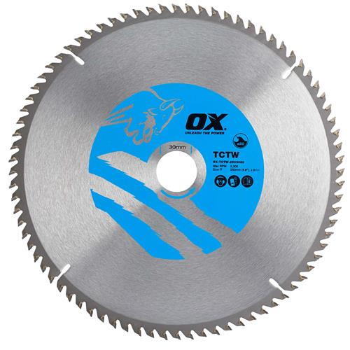 OX Tools CTW2503080 Ox Wood Saw Blade 250mm x 30mm x 80T