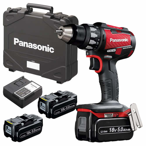 Panasonic EY74A2LJ3G31R 18v Brushless Drill Driver with 3 x 5.0Ah Batteries