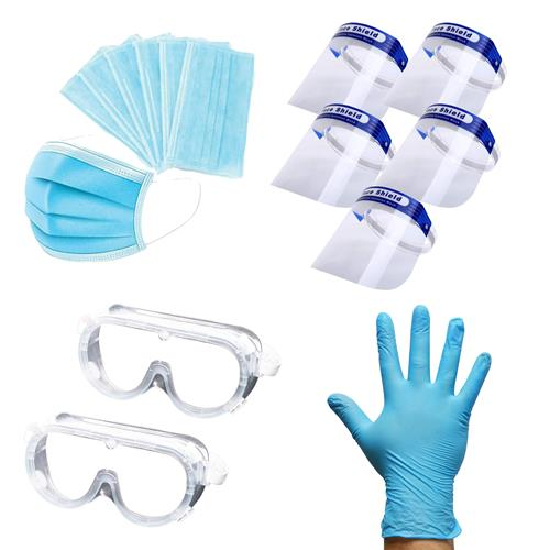 ITS Pack of 50 Disposable 3 ply Masks, 100 Gloves, Safety Goggles & Face Shield