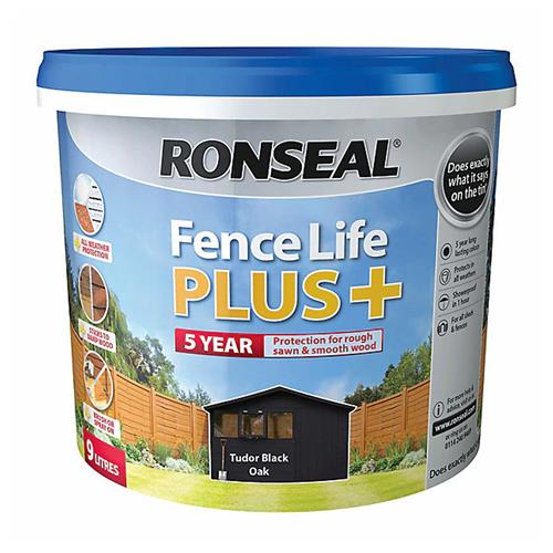 Ronseal Fence Life Plus+ Tudor Black Oak - 9L