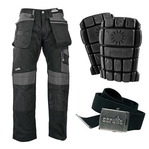Scruffs 3D Trade Work Trousers with Holster Pockets Kit - Black